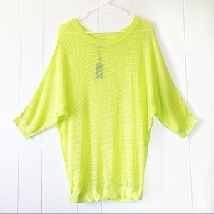 NWT Express Neon Yellow Open Knit Sweater